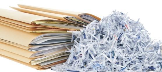 Унищожаване на документи, архив, банкови карти